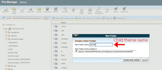 Creating a folder in CPanel