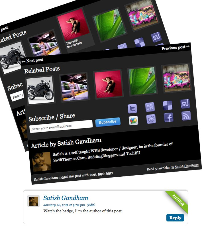 Related posts with thumbnails, and author badge
