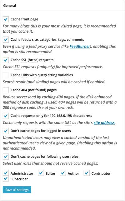 W3TC Page Cache Settings