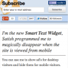 RSS Subscribe widget and the new smart text widget