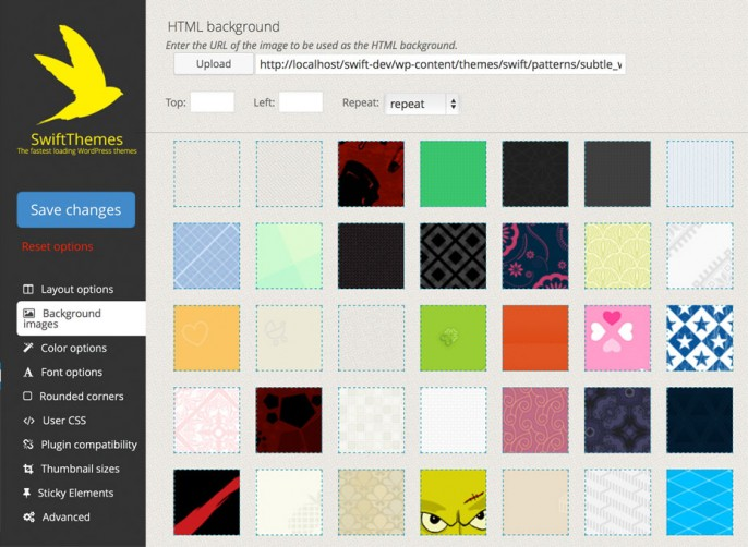 Set images as backgrounds for various elements on the site using the built in patterns or upload your own.