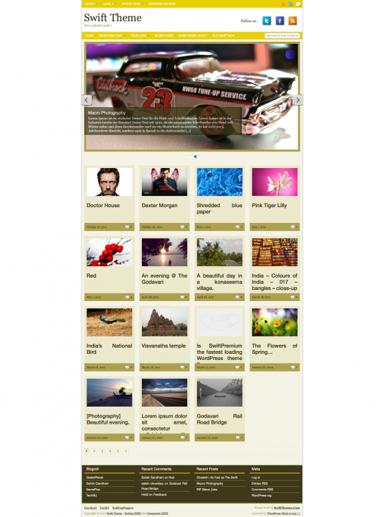 Full width magazine layout with full width slider in GoldenYellow color scheme.