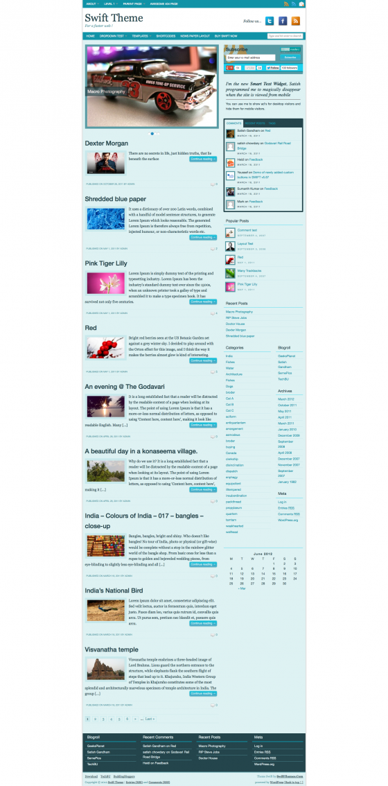 Blog layout with MonochromeBlue color scheme