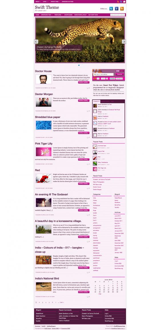 Sayuri color scheme home page screenshot