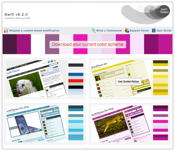 Swift Color Schemes page