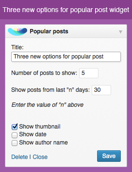 New options for popular and random posts widgets
