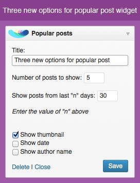 New options for popular and random posts widgets