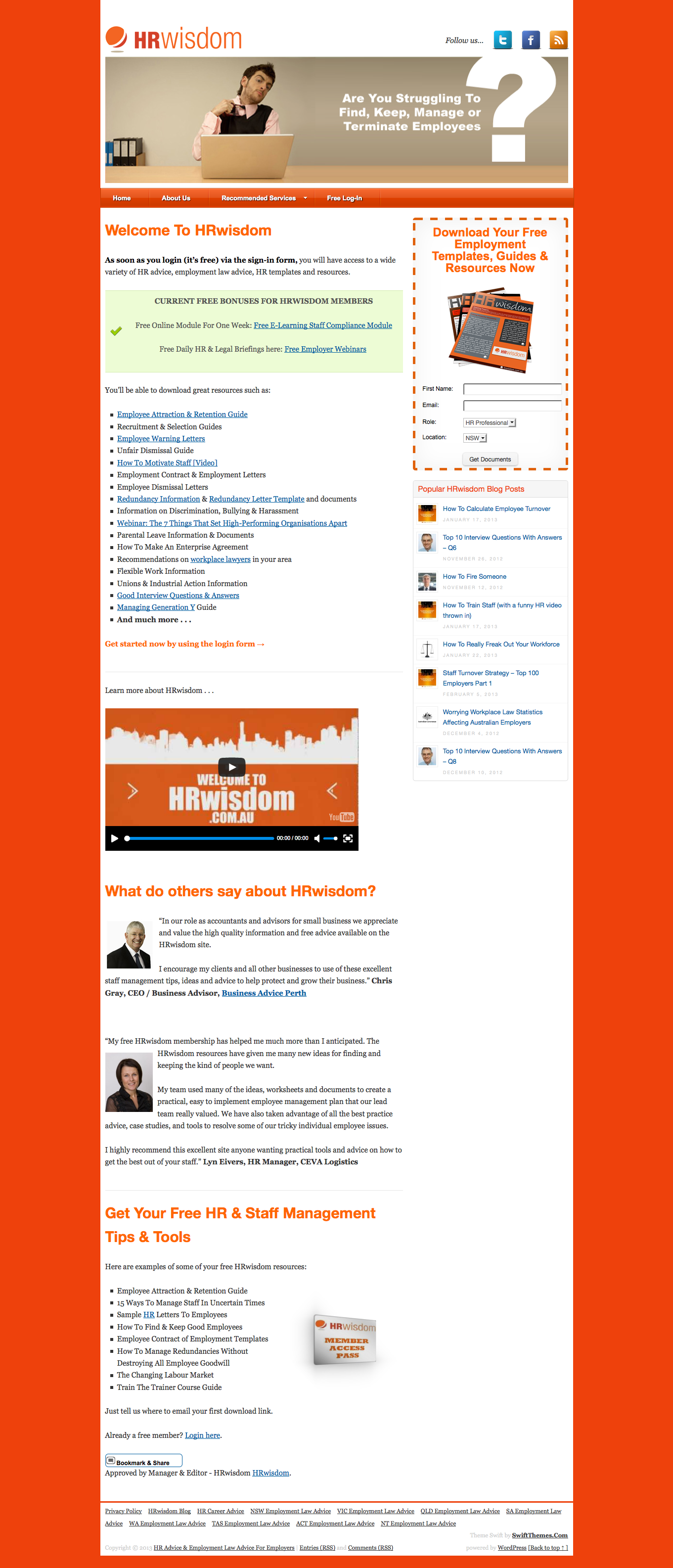 A simple corporate website with static front page.