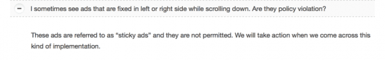 Do no show AdSense ads in sticky units.