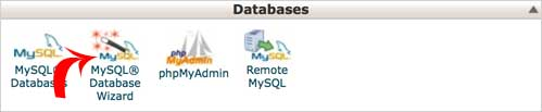 Open MySql database wizard to create the database.