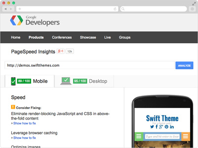 Improve your Google page speed score with the Swift WordPress theme
